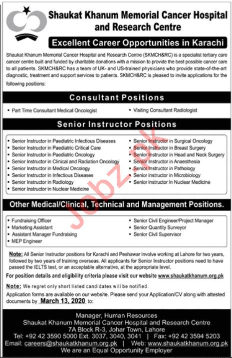 SKMCH&RC Medical Staff Jobs 2020 for Karachi