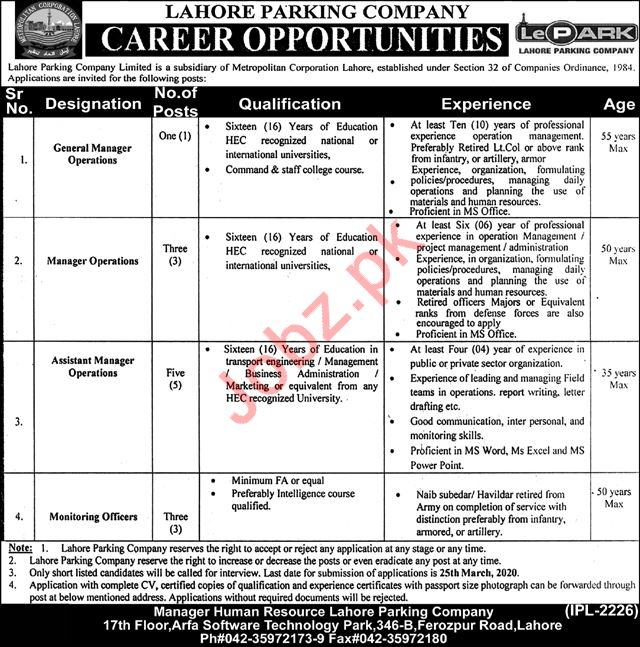 Lahore Parking Company Limited Jobs 2020