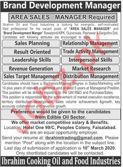 Brand Development Manager & Area Sales Manager Jobs 2020