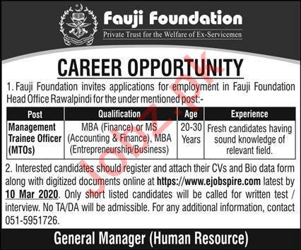 Fauji Foundation Private Trust Jobs 2020 in Rawalpindi