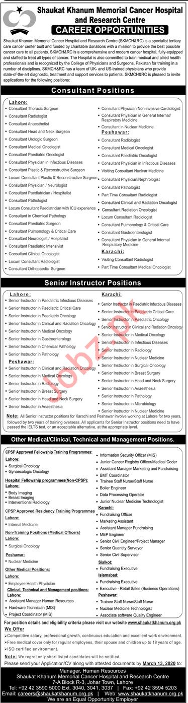 Medical Jobs in Shaukat Khanum Memorial Cancer Hospital