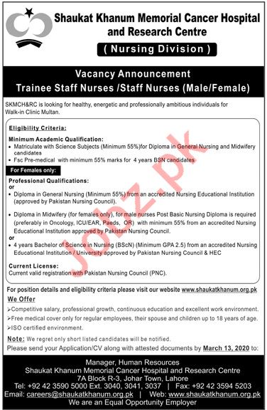 Shaukat Khanum Memorial Cancer Hospital Nursing Staff Jobs
