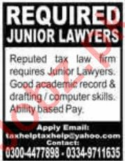 Tax Law firm Jobs 2020 in Lahore
