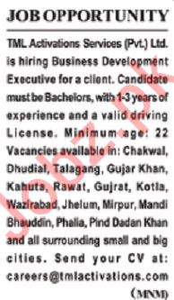 TML Activation Services Lahore Jobs 2020 for Executive