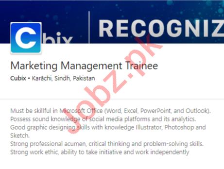 Cubix Karachi Jobs 2020 for Marketing Management Trainee