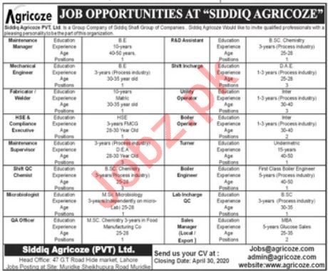 Siddiq Agriocze Private Limited Management Jobs 2020