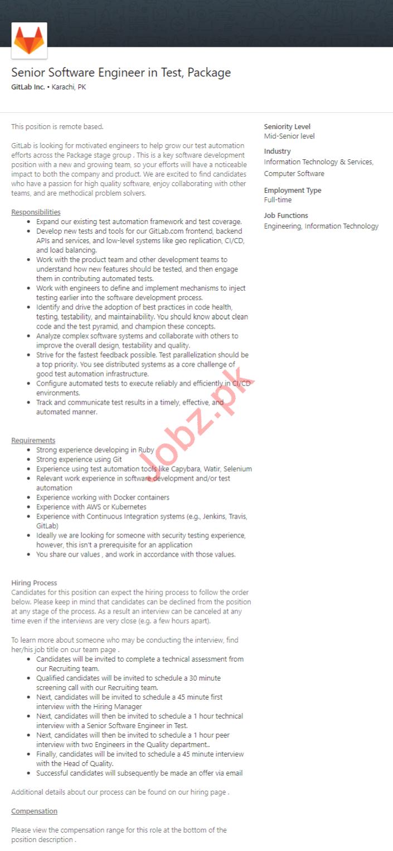 GitLab Inc Karachi Jobs 2020 Senior Software Engineer