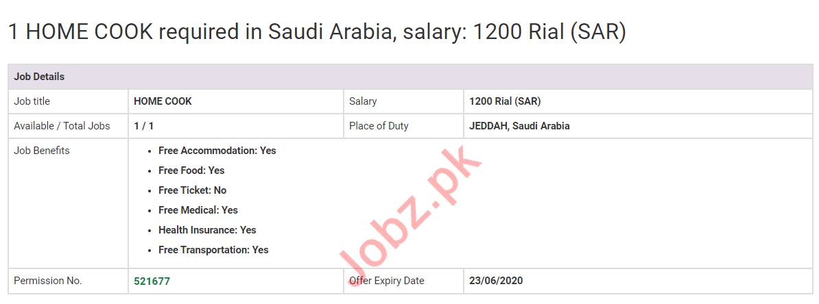 Home Cook Jobs 2020 in Saudi Arabia