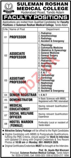 Suleman Roshan Medical College Teaching Staff Jobs 2020