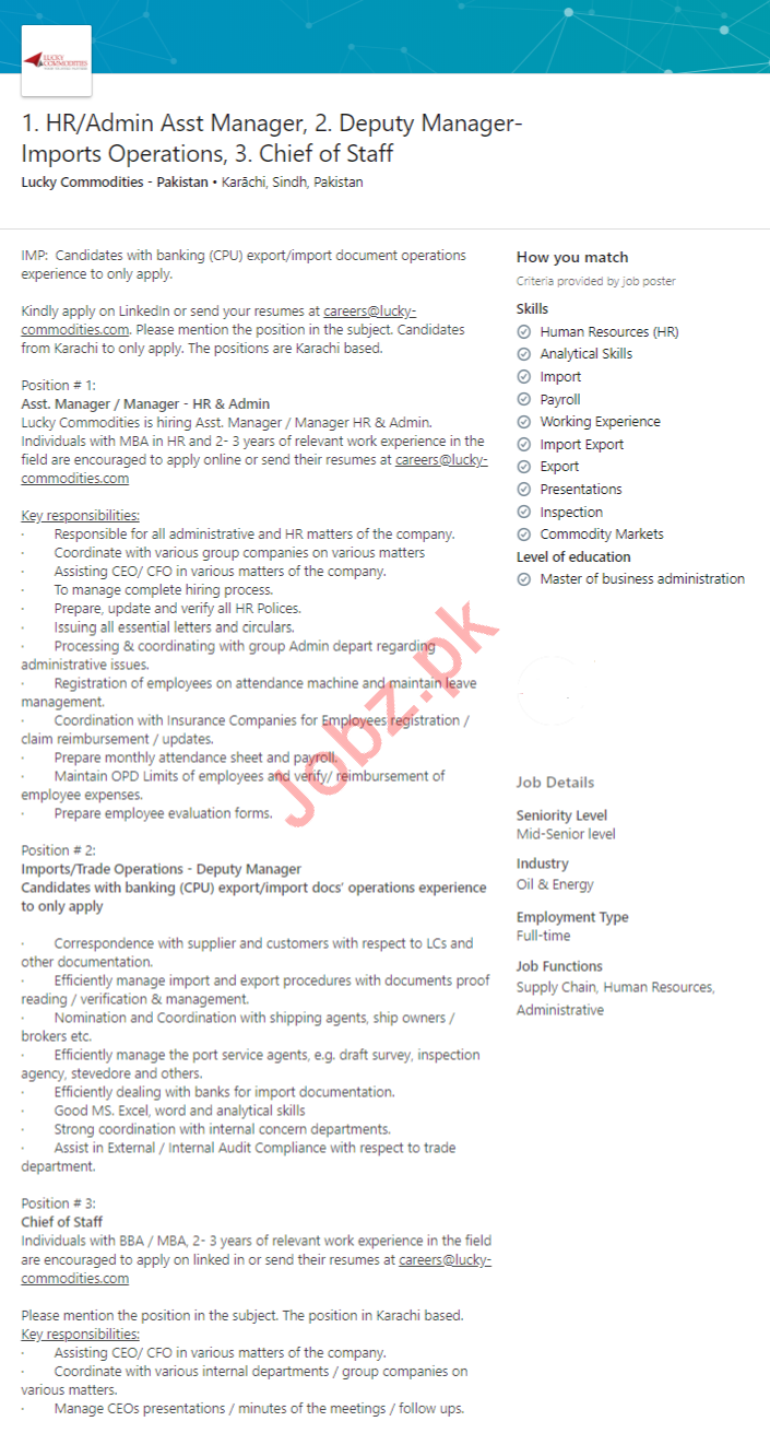 Lucky Commodities Pakistan Jobs 2020 for Managers