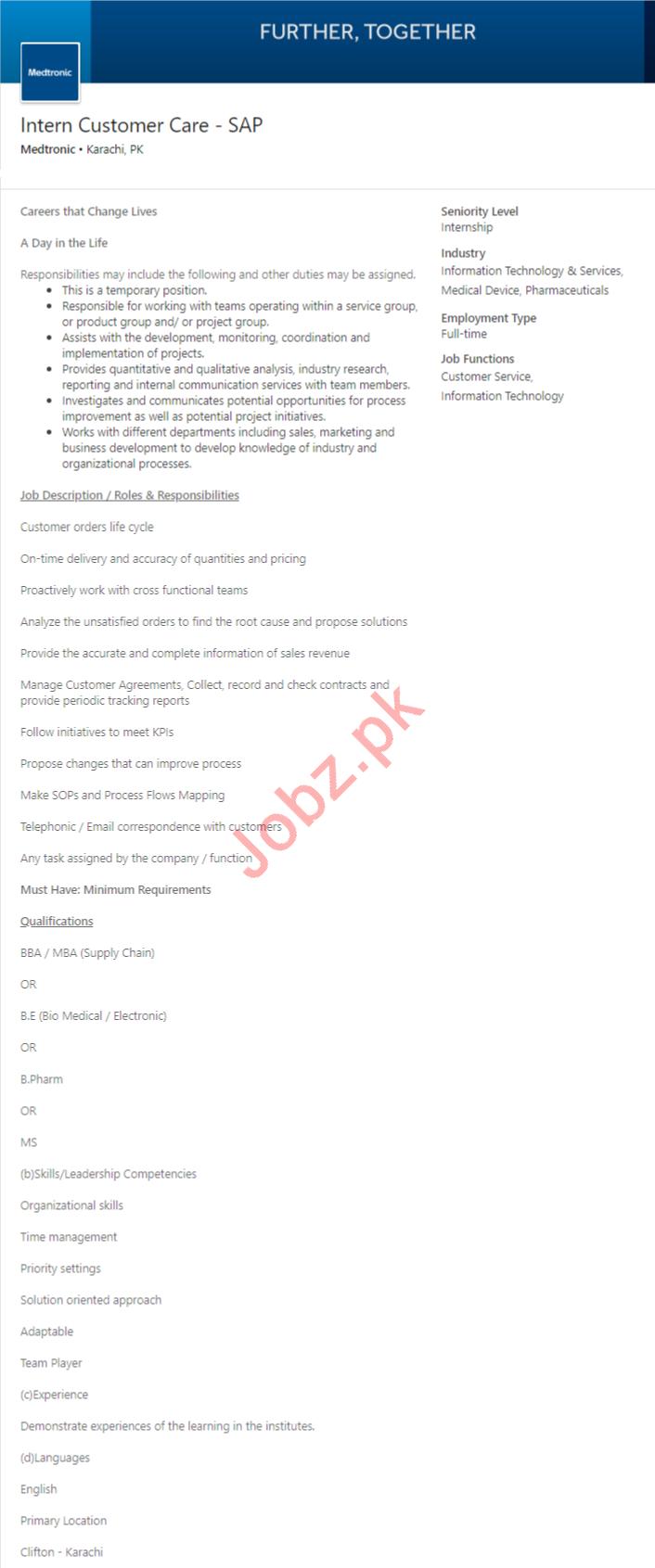 Medtronic Trader Karachi Jobs 2020 Intern Customer Care SAP