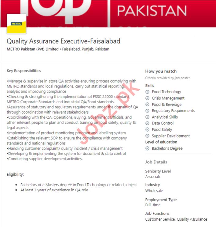 Metro Pakistan Faisalabad Jobs 2020 for QA Executive