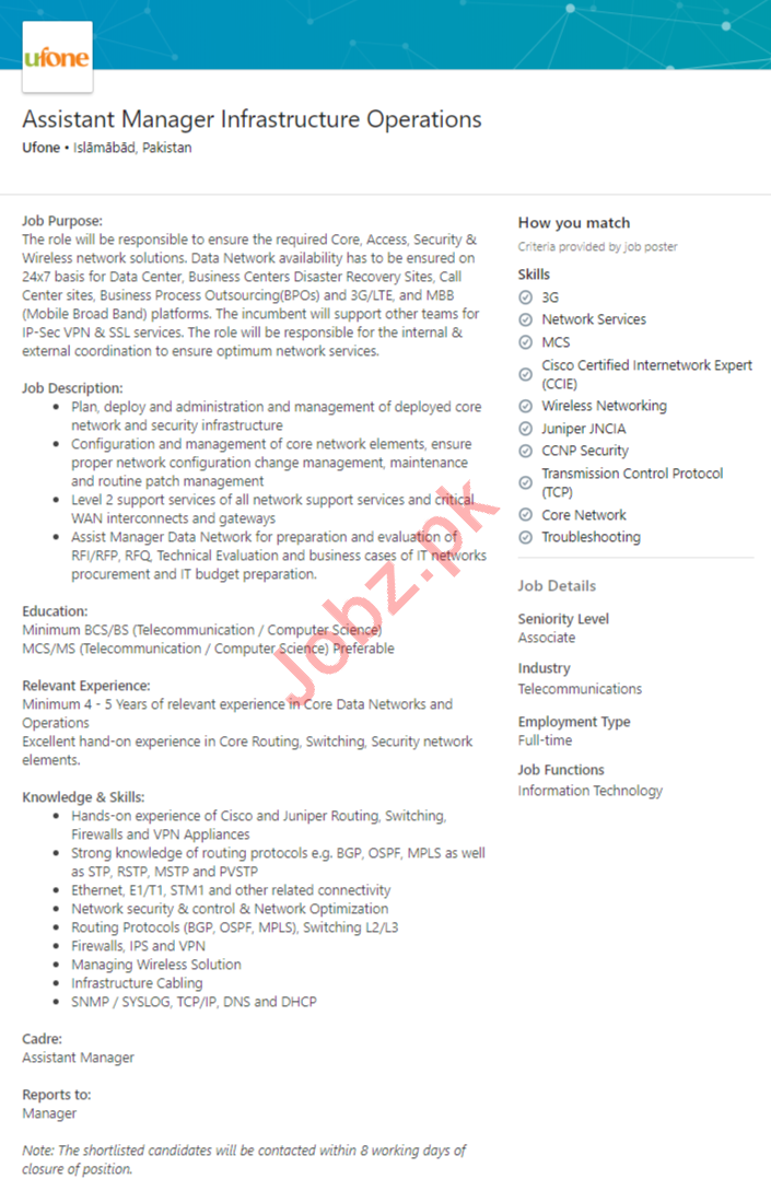 Assistant Manager Infrastructure Operations Jobs 2020