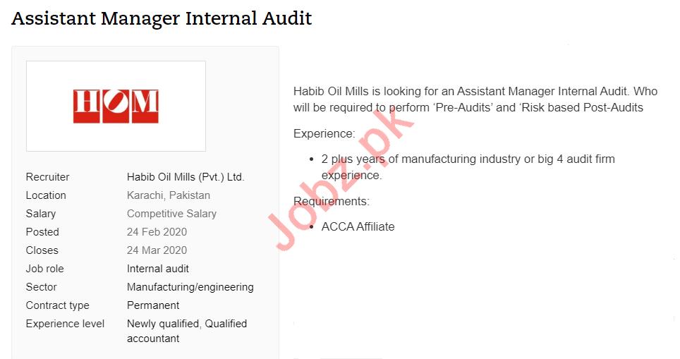Assistant Manager Internal Audit Jobs in Habib Oil Mills