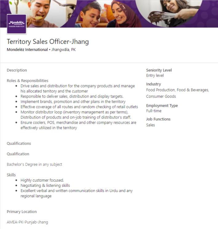 Territory Sales Officer Job 2020 in Jhang