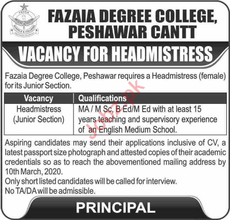 Fazaia Degree College Peshawar Headmistress Jobs 2020
