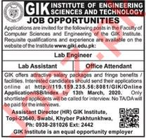 GIK Institute of Engineering Science & Technology Jobs 2020