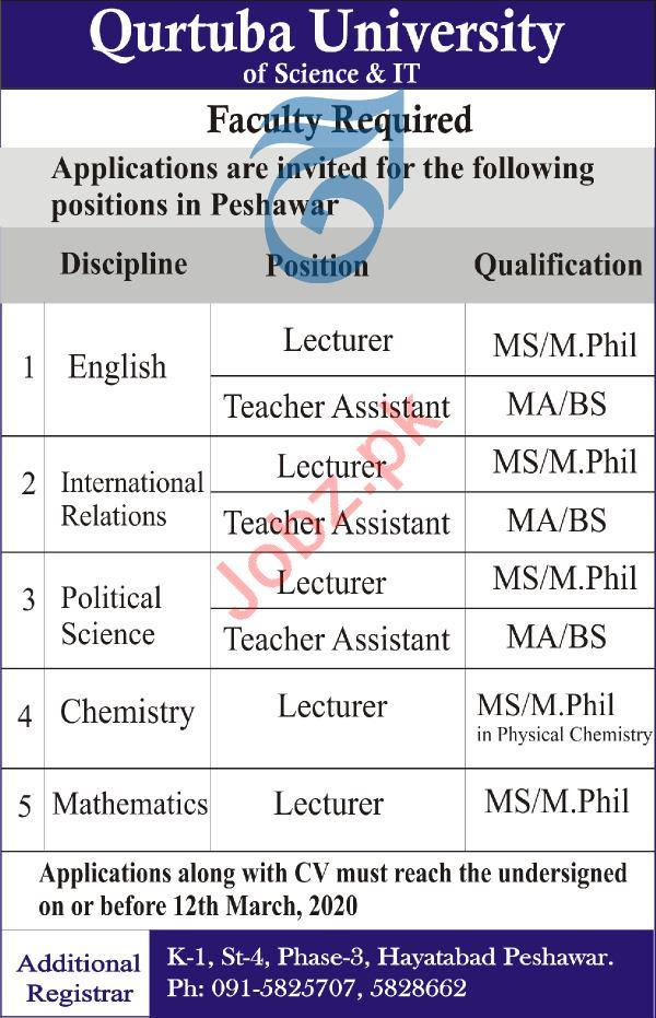 Qurtuba University of Scienece & IT Teaching Staff Jobs 2020
