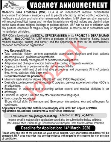 Medicins Sans Frontiers MSF Medical Staff Jobs 2020
