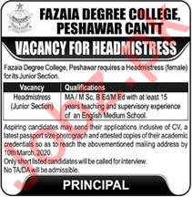 Fazaia Degree College Jobs For Headmistress in Peshawar KPK