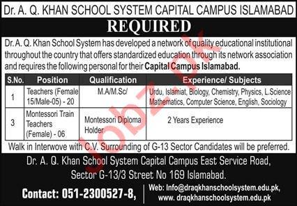 Dr AQ Khan School System Teaching Staff Jobs 2020