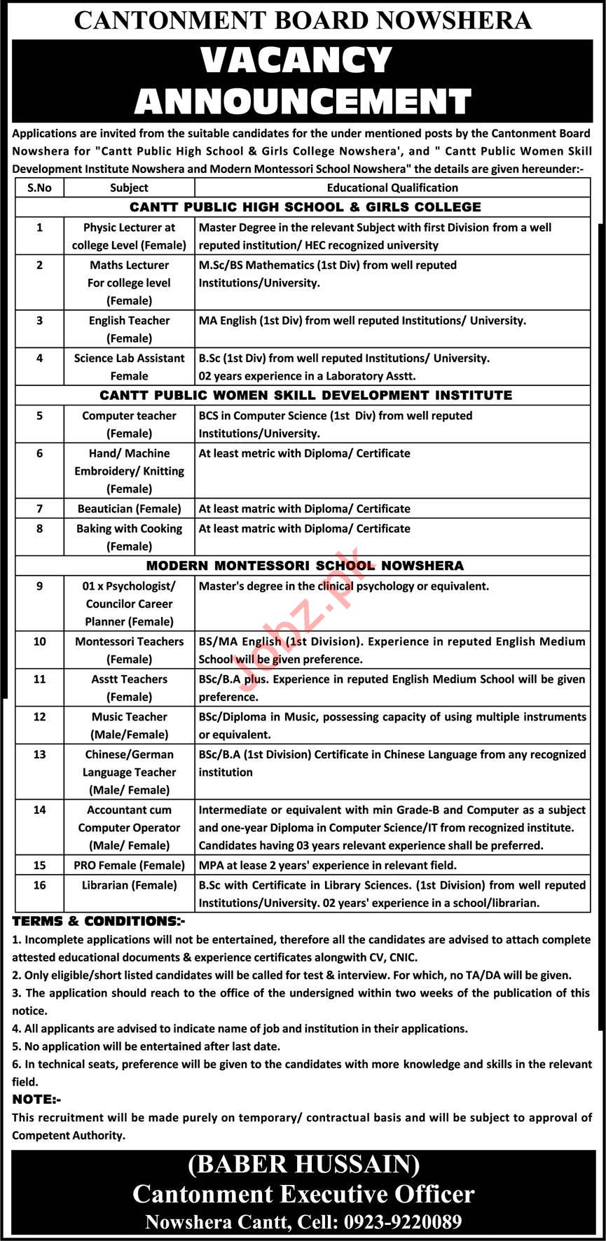 Cantonment Board CB Nowshera Jobs 2020