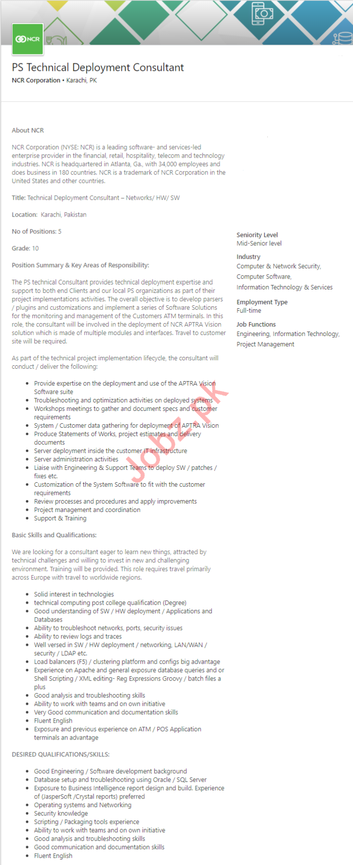 NCR Corporation Karachi Jobs Technical Deployment Consultant