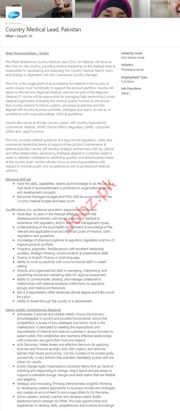 Pfizer Karachi Jobs 2020 Country Medical Lead