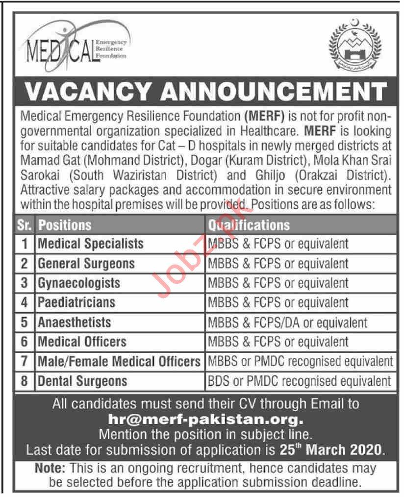 MERF Pakistan NGO Jobs 2020 for Medical Specialist