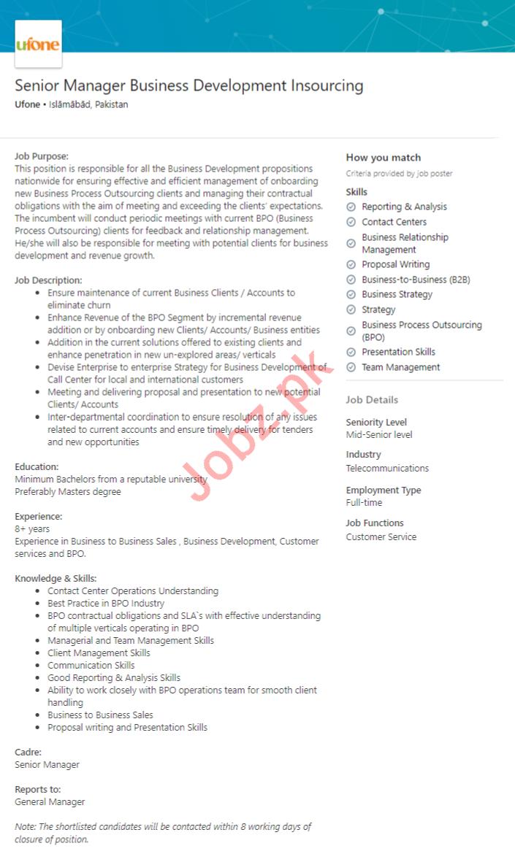 Ufone Telecommunication Company Jobs 2020 in Islamabad