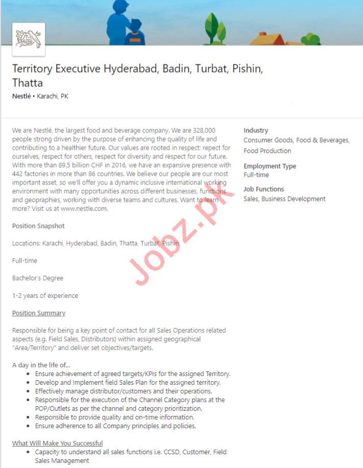 Nestle Pakistan Jobs 2020 For Territory Executive