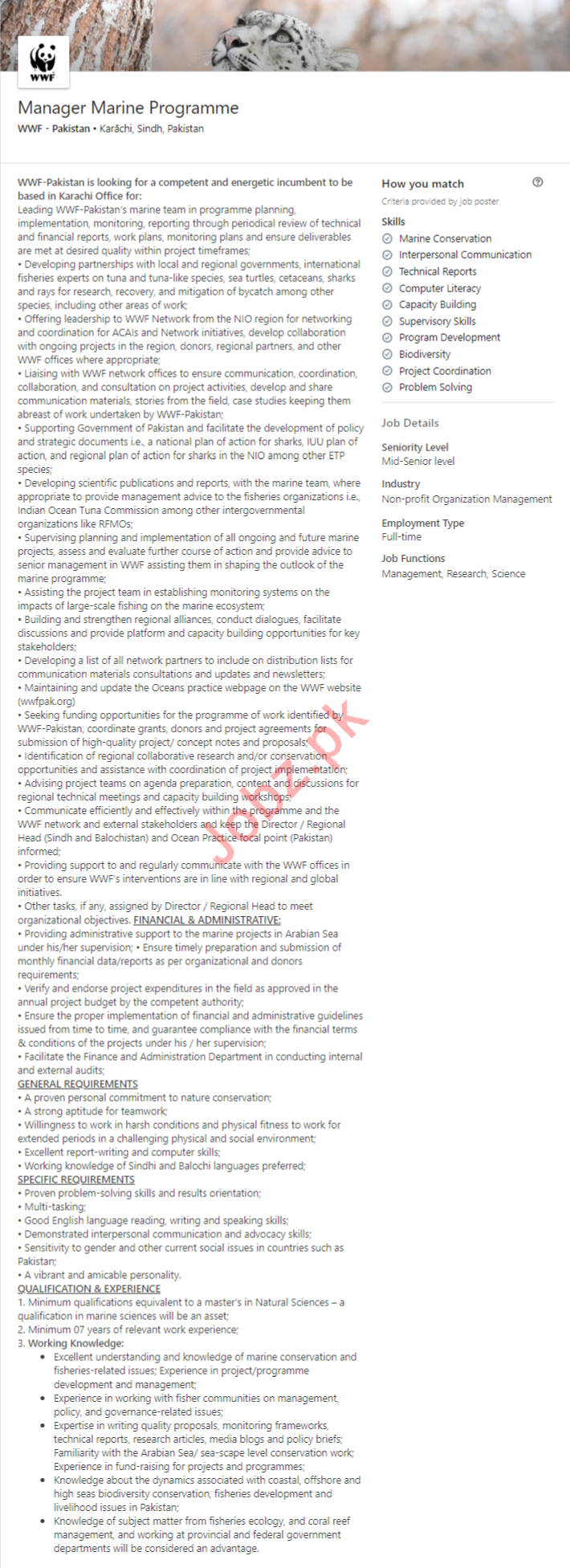 Manager Marine Programme Job 2020 in Karachi