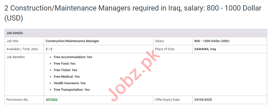 Construction Manager & Maintenance Manager Jobs 2020