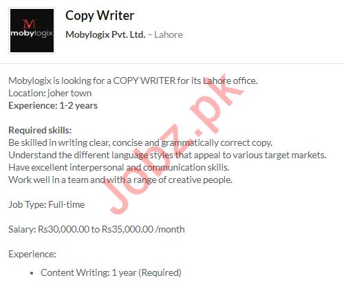 Mobylogix Pvt Ltd Job 2020 For Copywriter in Lahore