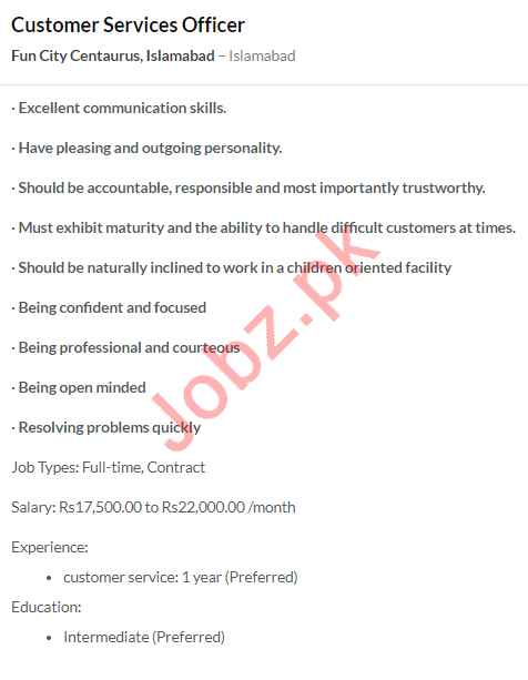 Customer Services Officer Job 2020 in Islamabad