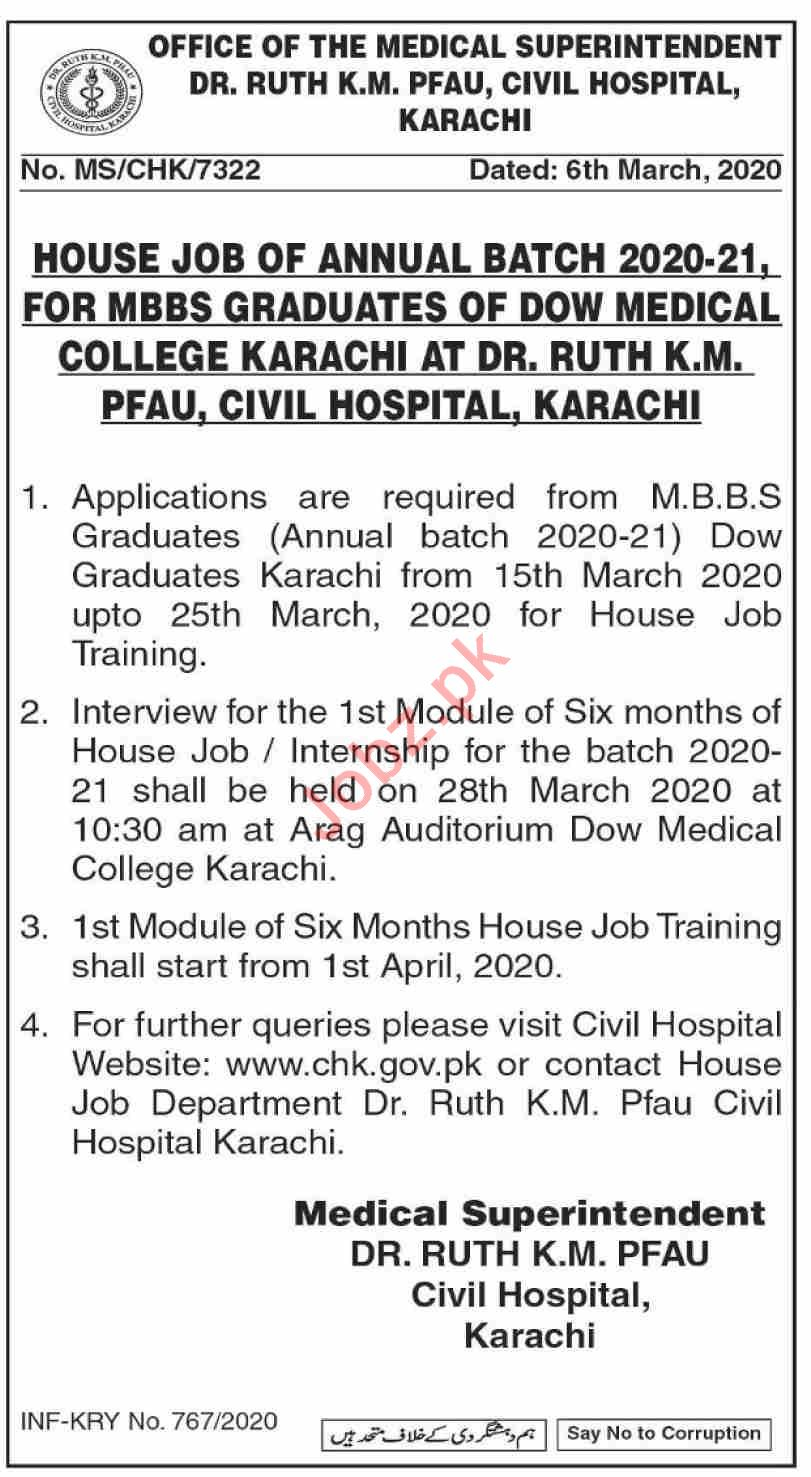 House Job Internship in Dr Ruth KM Pfau Civil Hospital