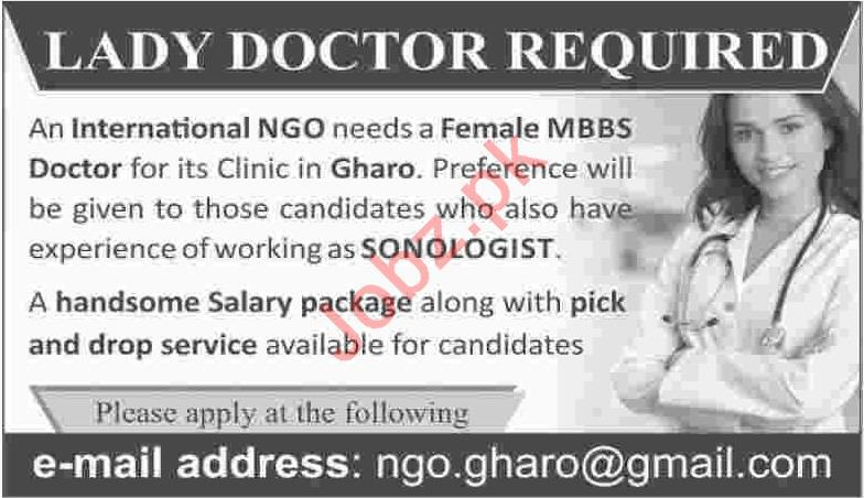 International NGO Jobs 2020 for Lady MBBS Doctor