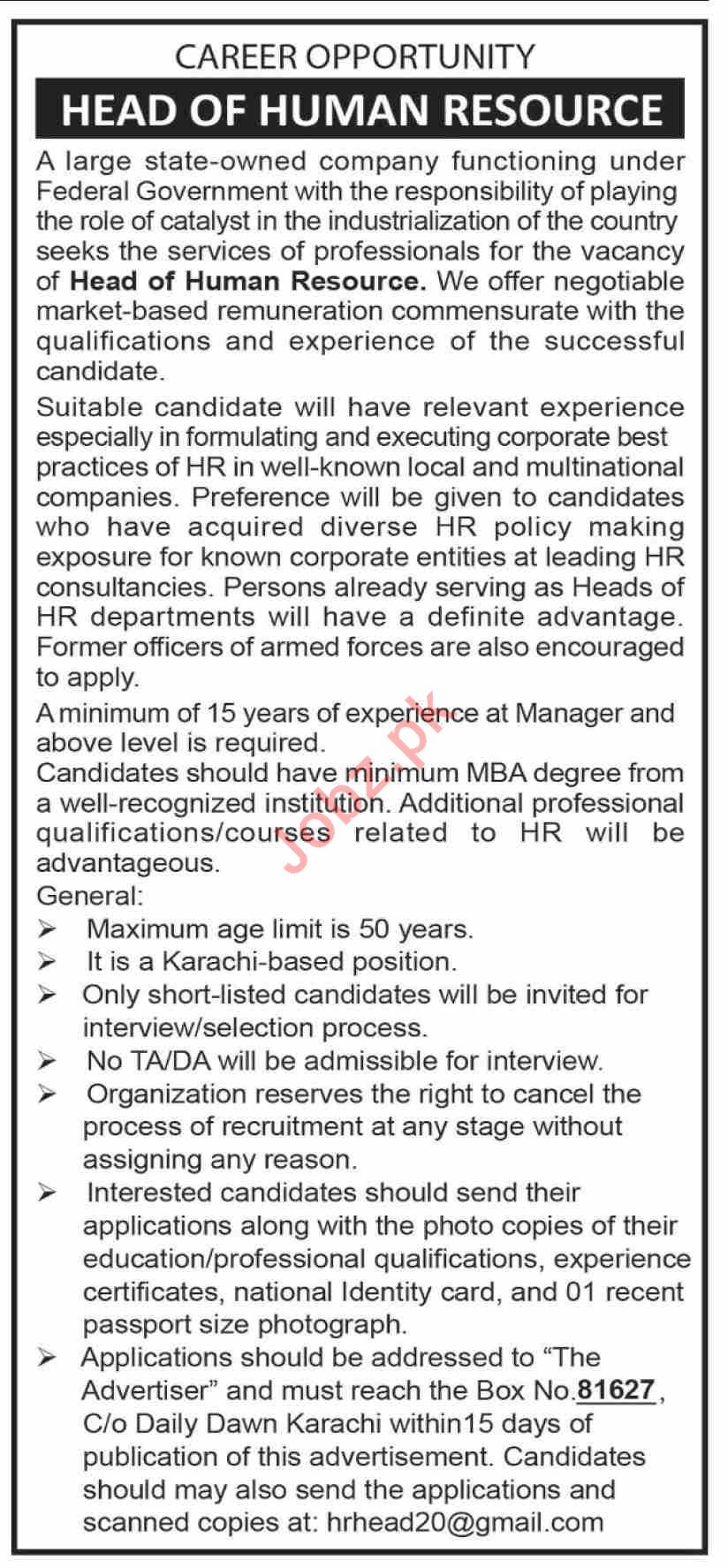 Head of Human Resource Jobs in Private Company