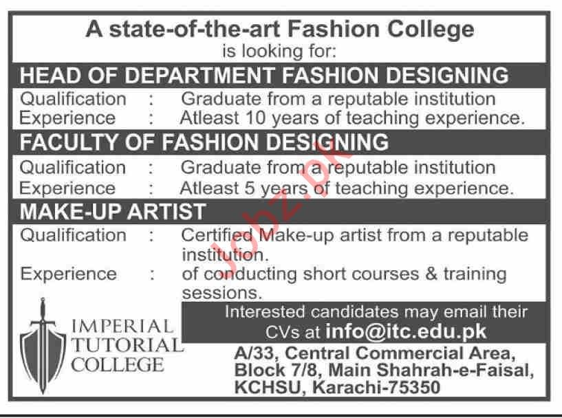 State of The Art Fashion College Management Jobs 2020