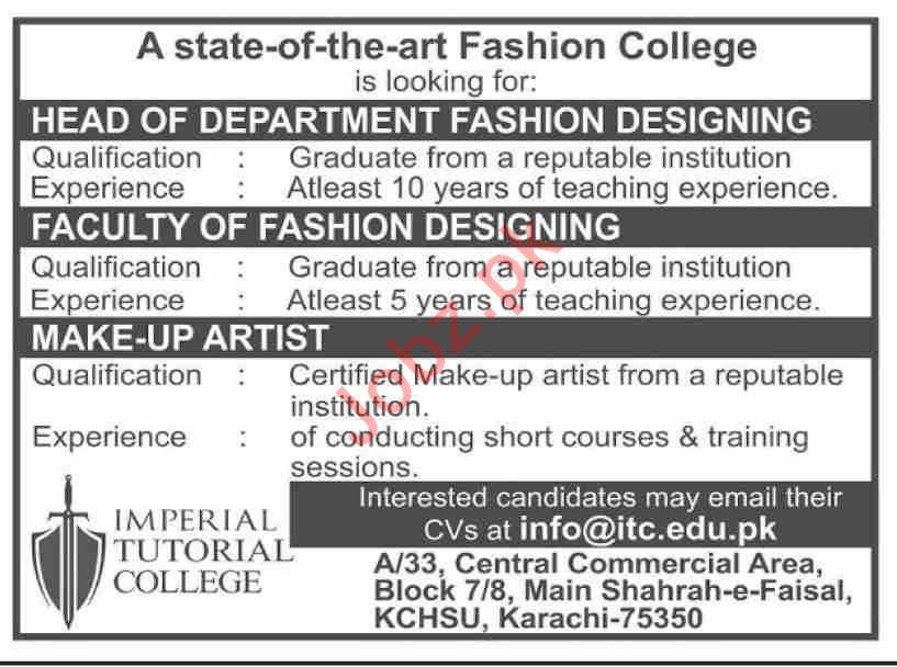 Fashion Designing Head Fashion Designing Professor Associate Professor Fashion Designing Makeup Artist Jobs In Imperial Tutorial College Itc