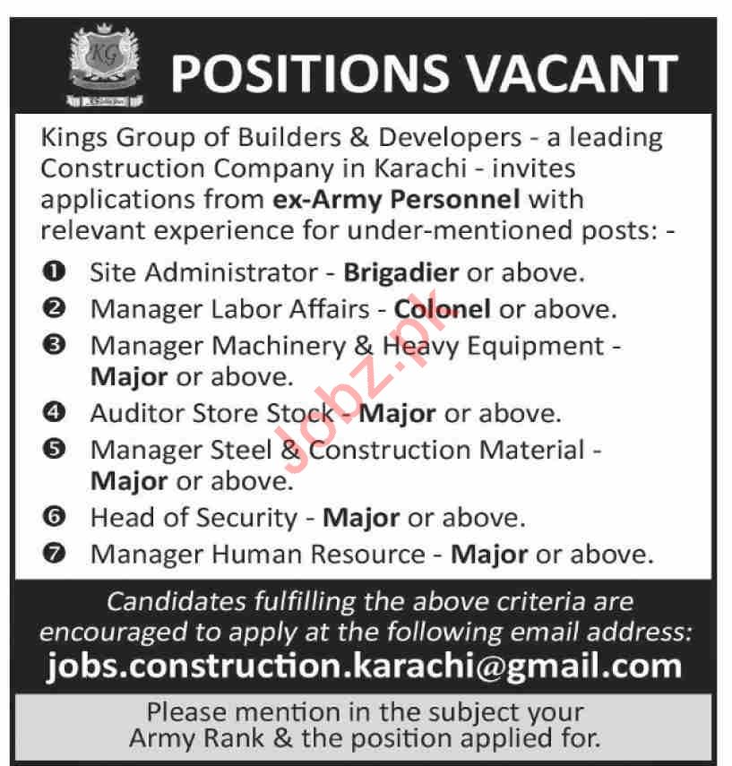 Kings Group of Builders & Developer Management Jobs 2020