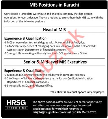 HRSG Recruiting MIS Head Jobs 2020 for Karachi