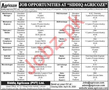 Siddiq Agricoze Pvt Ltd Jobs 2020 in Lahore