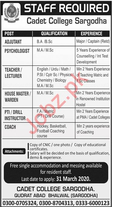 Pakistan Army Cadet College Jobs 2020 in Sargodha