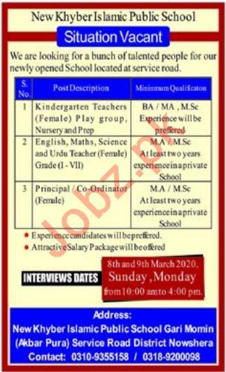 New Khyber Islamic Public School Teaching Staff Jobs 2020