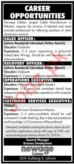 Newage Cables Private Limited Jobs 2020