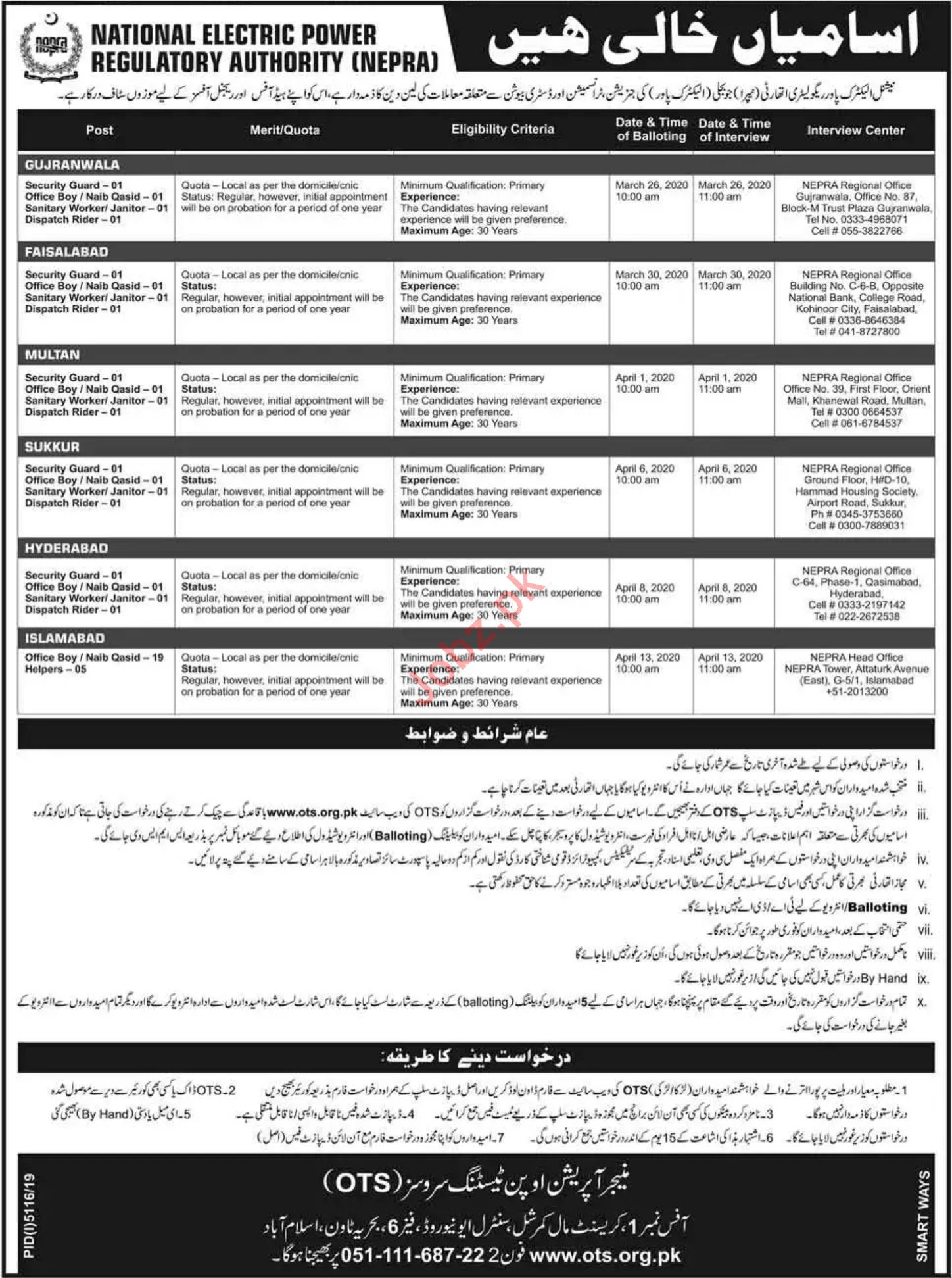 NEPRA Jobs 2020 through OTS