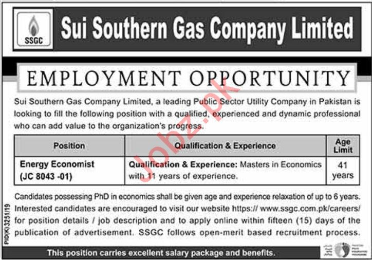 Energy Economist Jobs in Sui Southern Gas Company Limited