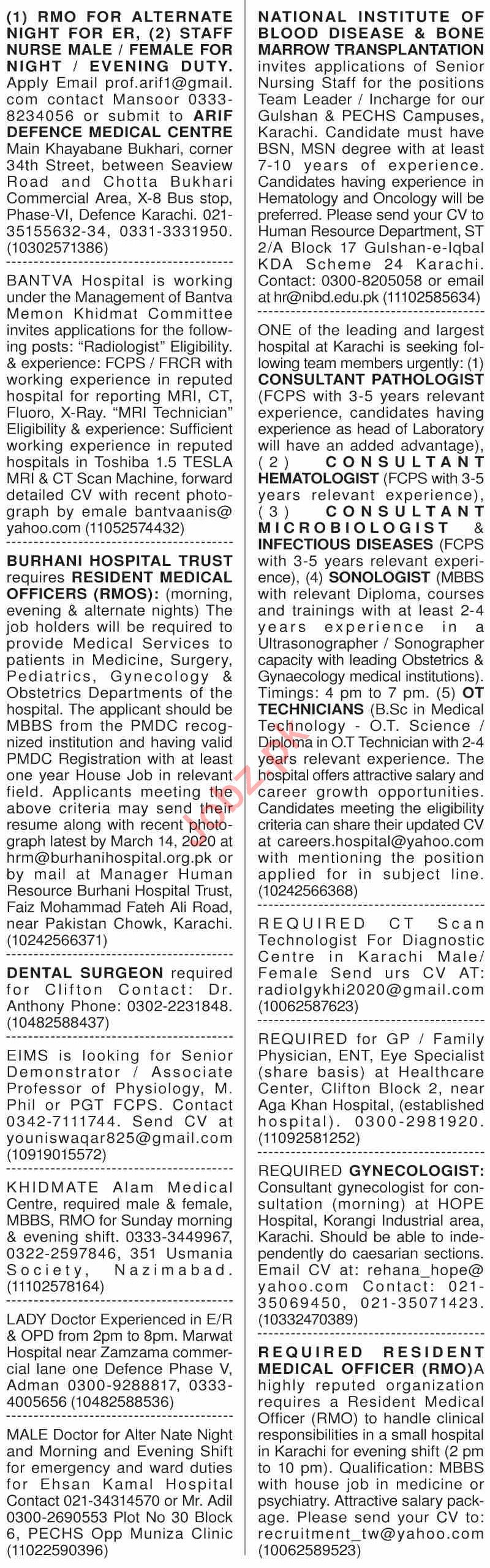 Dawn Sunday Classified Ads 8th March 2020 for Medical Staff