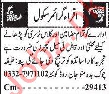 Iqra Grammar School Quetta Jobs 2020 for Teachers